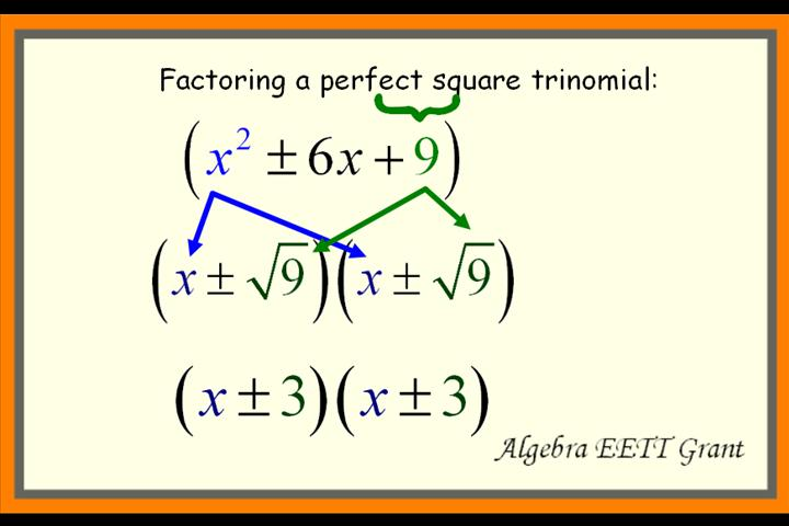 How To Factor Quadratics 6E - Perfect Square Trinomials