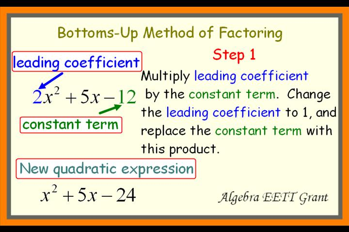 Factoring Quadratics By Using The Bottoms-Up Method