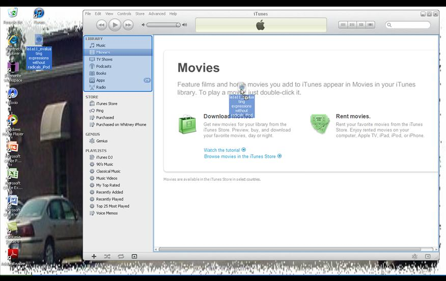 Syncing videos to an iPod.